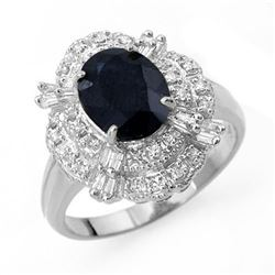 3.20 CTW Blue Sapphire & Diamond Ring 18K White Gold - REF-78X5T - 13140