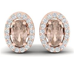 0.75 CTW Morganite & Micro Pave VS/SI Diamond Earrings Halo 14K Rose Gold - REF-34W5F - 21187