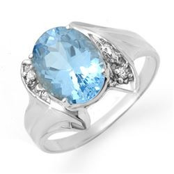 2.51 CTW Blue Topaz & Diamond Ring 10K White Gold - REF-17K5W - 12283