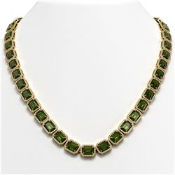60.49 CTW Tourmaline & Diamond Halo Necklace 10K Yellow Gold - REF-928A2X - 41353