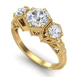 1.66 CTW VS/SI Diamond Solitaire Art Deco 3 Stone Ring 18K Yellow Gold - REF-445K5W - 37225