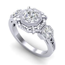 1.01 CTW VS/SI Diamond Solitaire Art Deco 3 Stone Ring 18K White Gold - REF-200A2X - 36881