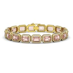 22.81 CTW Morganite & Diamond Halo Bracelet 10K Yellow Gold - REF-569K6W - 41392