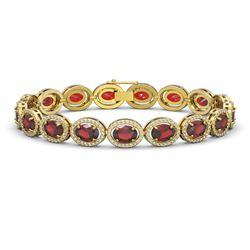 21.98 CTW Garnet & Diamond Halo Bracelet 10K Yellow Gold - REF-247X6T - 40648