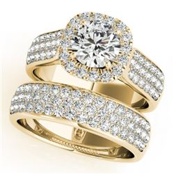 2.59 CTW Certified VS/SI Diamond 2Pc Wedding Set Solitaire Halo 14K Yellow Gold - REF-475N5Y - 31168