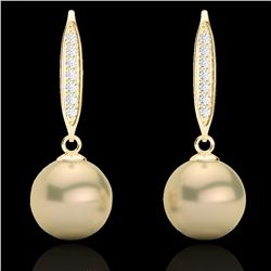 0.18 CTW Micro Pave VS/SI Diamond & Golden Pearl Designer Earrings 18K Yellow Gold - REF-34T5M - 226