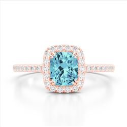 1.25 CTW Sky Blue Topaz & Micro Pave VS/SI Diamond Halo Ring 10K Rose Gold - REF-34F5N - 22913