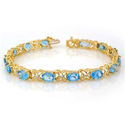 13.55 CTW Blue Topaz & Diamond Bracelet 10K Yellow Gold - REF-60K2W - 10572