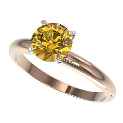 1.50 CTW Certified Intense Yellow SI Diamond Solitaire Ring 10K Rose Gold - REF-345Y5K - 32931