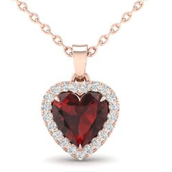 1 CTW Garnet & Micro Pave VS/SI Diamond Heart Necklace Halo 14K Rose Gold - REF-30Y4K - 21338