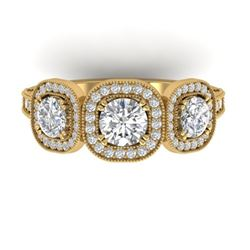 2.25 CTW Certified VS/SI Diamond 3 Stone Micro Halo Ring 14K Yellow Gold - REF-236W2F - 30440