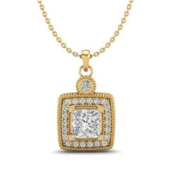 0.91 CTW Princess VS/SI Diamond Art Deco Stud Necklace 18K Yellow Gold - REF-145N5Y - 37132