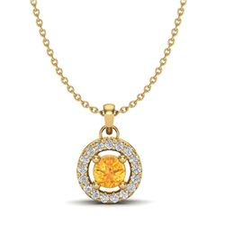 0.38 CTW Citrine & Micro Pave VS/SI Diamond Necklace Halo 18K Yellow Gold - REF-28H4A - 20370