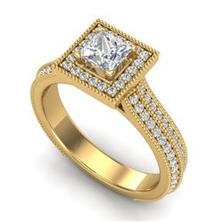 1.41 CTW Princess VS/SI Diamond Solitaire Micro Pave Ring 18K Yellow Gold - REF-200H2A - 37180