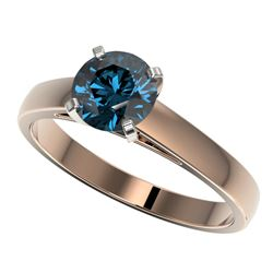 1.25 CTW Certified Intense Blue SI Diamond Solitaire Engagement Ring 10K Rose Gold - REF-147T8M - 33