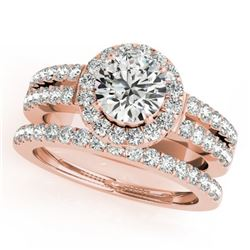 1 CTW Certified VS/SI Diamond 2Pc Wedding Set Solitaire Halo 14K Rose Gold - REF-150W8F - 31131