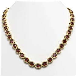 50.08 CTW Garnet & Diamond Halo Necklace 10K Yellow Gold - REF-555X6T - 40600