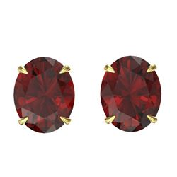 7 CTW Garnet Designer Inspired Solitaire Stud Earrings 18K Yellow Gold - REF-34F9N - 21664