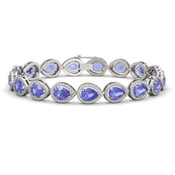 19.14 CTW Tanzanite & Diamond Halo Bracelet 10K White Gold - REF-396M5H - 41099