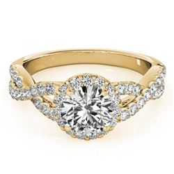 1.54 CTW Certified VS/SI Diamond Solitaire Halo Ring 18K Yellow Gold - REF-385F8N - 26559