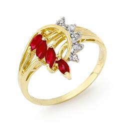 0.55 CTW Ruby & Diamond Ring 10K Yellow Gold - REF-22T2M - 12945