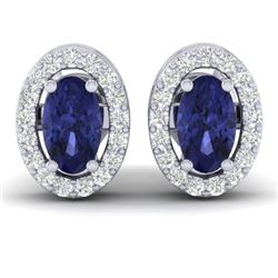 0.70 CTW Tanzanite & Micro Pave VS/SI Diamond Earrings Halo 18K White Gold - REF-30W2F - 21196