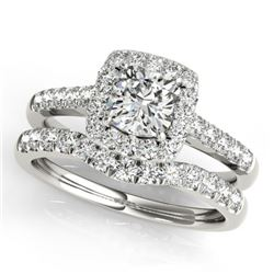 1.74 CTW Certified VS/SI Cushion Diamond 2Pc Set Solitaire Halo 14K White Gold - REF-464H4A - 31337