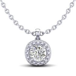 1.1 CTW VS/SI Diamond Solitaire Art Deco Stud Necklace 18K White Gold - REF-218N2Y - 37121