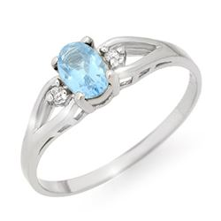0.53 CTW Blue Topaz & Diamond Ring 10K White Gold - REF-10Y2K - 12496