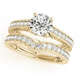 1.42 CTW Certified VS/SI Diamond Solitaire 2Pc Wedding Set 14K Yellow Gold - REF-216F2N - 31669