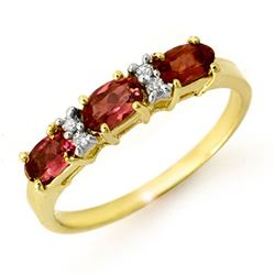 0.83 CTW Pink Tourmaline & Diamond Ring 10K Yellow Gold - REF-23Y5K - 13717