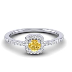 0.45 CTW Citrine & Micro Pave VS/SI Diamond Ring Designer Halo 18K White Gold - REF-27H8A - 21372