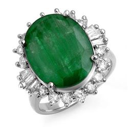 10.07 CTW Emerald & Diamond Ring 18K White Gold - REF-136H2A - 13217
