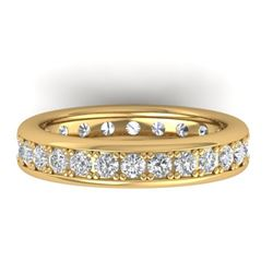1.33 CTW Certified VS/SI Diamond Eternity Band Men's 14K Yellow Gold - REF-127A6X - 30332