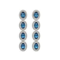 6.28 CTW London Topaz & Diamond Halo Earrings 10K White Gold - REF-104A5X - 40538