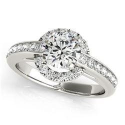 1.5 CTW Certified VS/SI Diamond Solitaire Halo Ring 18K White Gold - REF-400F8N - 26694