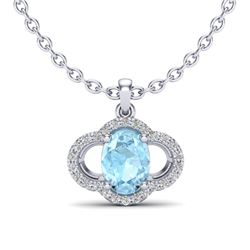 2 CTW Aquamarine & Micro Pave VS/SI Diamond Necklace 10K White Gold - REF-34K8W - 20622