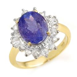 3.75 CTW Tanzanite & Diamond Ring 14K Yellow Gold - REF-110X4T - 13868