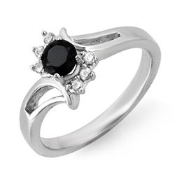 0.53 CTW VS Certified Black & White Diamond Ring 10K White Gold - REF-24A2X - 14006