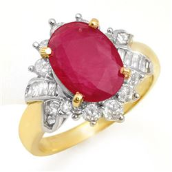 4.42 CTW Ruby & Diamond Ring 14K Yellow Gold - REF-76A5X - 13280