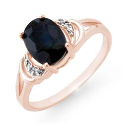 2.06 CTW Blue Sapphire & Diamond Ring 14K Rose Gold - REF-24F5N - 12385