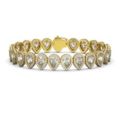 18.55 CTW Pear Diamond Designer Bracelet 18K Yellow Gold - REF-3398Y9K - 42826