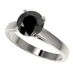 2 CTW Fancy Black VS Diamond Solitaire Engagement Ring 10K White Gold - REF-44F5N - 33032