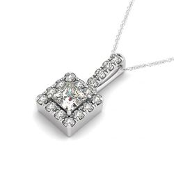 0.8 CTW Princess Certified VS/SI Diamond Solitaire Halo Necklace 14K White Gold - REF-122F4N - 30220