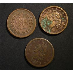 3-CIVIL WAR TOKENS:  IOU ONE CENT  &  ARMY & NA