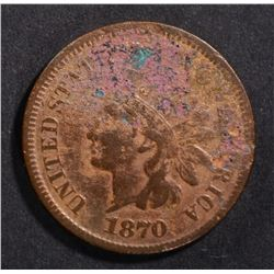 1870 INDIAN CENT FINE CORRODED
