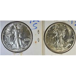 2-CH BU 1942-S WALKING LIBERTY HALVES