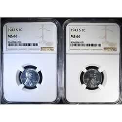 2-1943-S LINCOLN CENTS, NGC MS-66