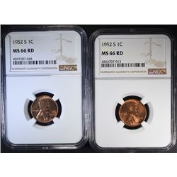 2 - 1952 S LINCOLN CENTS NGC MS66 RD
