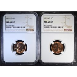 1955-D & 1955-S NGC MS66 RD LINCOLN